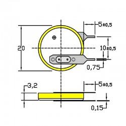 Батарейка CR2032/1VC3, 2 вывода, вертик. расстояние между контактаим 10мм 1 шт/3В литиевая