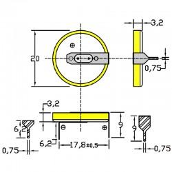 Батарейка CR2032/1HF5, 2 вывода, гориз. расстояние между контактаим 18мм 1 шт/3В литиевая