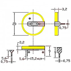 Батарейка CR2032/1HF3, 2 вывода, гориз. расстояние между контактаим 15мм 1 шт/3В литиевая