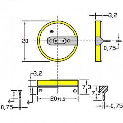 Батарейка CR2032/1HF, 2 вывода, гориз. расстояние между контактаим 20мм 1 шт/3В литиевая