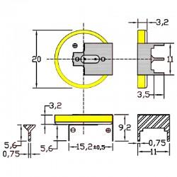 Батарейка CR2032/1GU2, 3 вывода, гориз. расстояние между контактаим 15мм 1 шт/3В литиевая