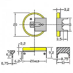 Батарейка CR2032/1GU1, 3 вывода, гориз. расстояние между контактаим 20мм 1 шт/3В литиевая