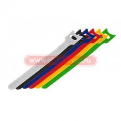 Стяжка кабельная многоразовая липучка 230*13мм 12шт. синий