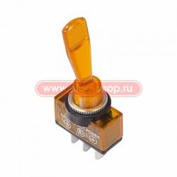 Переключатель тумблерный ON-OFF, SPST, 26.2*12мм М12, DC 12в, 20а, жёлтый, индикация, ASW-13D