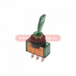 Переключатель тумблерный ON-OFF, SPST, 26.2*12мм М12, DC 12в, 20а, зелёный, индикация, ASW-13D