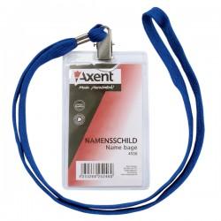 Бейдж верт. AXENT на шнурке, прозрачный (4506-A)