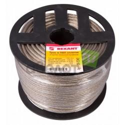 Трос стальной REXANT в ПВХ оплетке d=4,0 мм, прозрачный 100 м