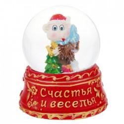 """Сувенир снежный шар """"Счастья и веселья. Обезьняка с ёлочкой"""", d=6,5 см 1073388"""