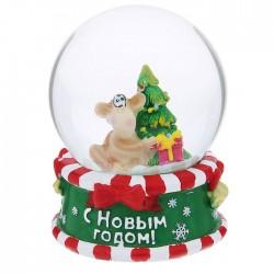 """Сувенир снежный шар """"С Новым Годом! Обезьянка под ёлкой"""", d=8 см 1073393"""