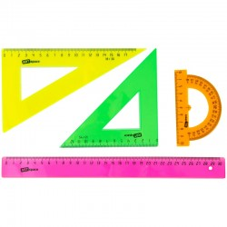 Набор чертежный Спейс (треуг. 2шт., линейка 30см, транспортир), прозр. флуоресцентный 256254