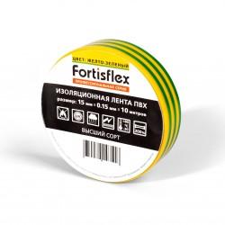 Изолента ПВХ 15мм х 10м желто-зеленая  0,15мм (Fortisflex)
