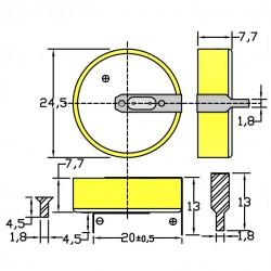 Батарейка CR2477/1HF, 2 вывода, гориз. 1 шт./3В. литиевая