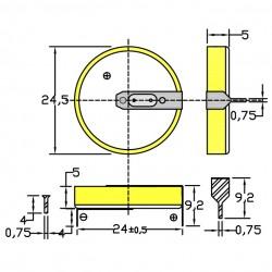 Батарейка CR2450/1HF, 2 вывода, гориз. 1 шт./3В. литиевая
