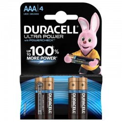 Батарейки AAA(LR03) DURACELL Ultra Power упак 4 шт./1,5В. щелочные