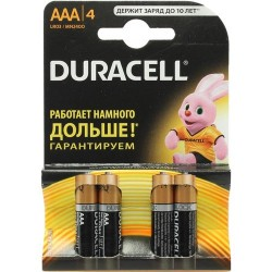 Батарейки AAA(LR03) DURACELL упак 4 шт./1,5В. щелочные