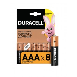 Батарейки AAA(LR03) DURACELL упак 8 шт./1,5В. щелочные