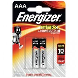 Батарейки AAA(LR03) ENERGIZER MAX+PowerSeal упак 2 шт./1,5В. щелочные