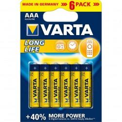 Батарейки AAA(LR03) VARTA LongLife упак 6 шт./1,5В. щелочные