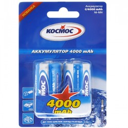Батарейки C(R14) КОСМОС упак 2 шт./1,5В. солевые