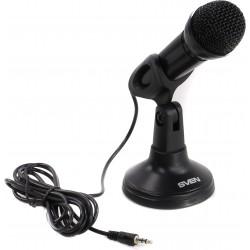 Микрофон Sven MK-500 настольный, кнопка вкл/выкл,  кабель 2.4м, разъём 3.5мм, Black