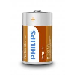 Батарейка D(R20) PHILIPS LONGLIFE 1 шт./1,5В. солевая