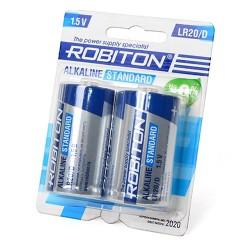 Батарейки D(LR20) ROBITON Standart упак 2 шт./1,5В. щелочные