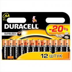 Батарейки AA(LR6) DURACELL упак 12 шт./1,5В. щелочные