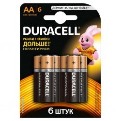Батарейки AA(LR6) DURACELL упак 6 шт./1,5В. щелочные