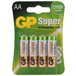 Батарейки AA(LR6) GP Super упак 4 шт./1,5В. щелочные