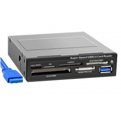 Картридер внутренний Ginzzu GR-166UB  черный 1*USB 3.0, корпус из металла,подкл к 20-pin) CF/SD/microSD/MMC/MS