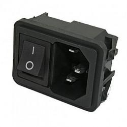 Разъем питания, IEC-60320 C14, штекер, корпусной, выключатель