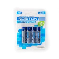 Батарейки AA(LR6) ROBITON Standart упак 4 шт./1,5В. щелочные