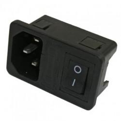 Разъем питания AC-0013 /гнездо блочное, выключатель, предохранитель/10А 250в