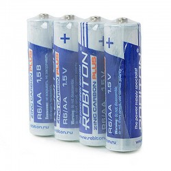 Батарейки AA(R6) ROBITON PLUS упак 4 шт./1,5В. солевые