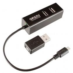 Картридер внешний Ginzzu GR-564UB черный OTG USB 2.0 + HUB 3 port USB 2.0 SD/microSD/MMC