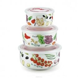 Набор контейнеров Bekker BK-5116/овощи 3шт. с крышками 300мл/10см, 550мл/13см, 950мл/15см круг.,с клапаном, вакуум. Подходит ( без крышки) для микров. печи и мороз. камеры.Состав: фарфор.