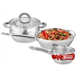 Набор посуды LARA LR02-110 Bell PROMO нерж.сталь,кастрюля 4.7л, сковорода 24см +сотейник 1.6л
