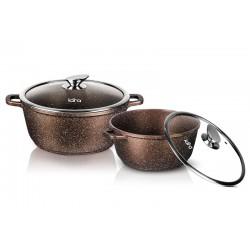 Набор посуды LARA LR02-111 Rio CHOCO литой алюминий, мрамор, 2 пр., (кастр. 3.1л + 5,0л)