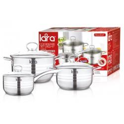 Набор посуды LARA LR02-97 Standart, 6 пр., (кастр. 4.4л + 7.7л + сотейник 2.3л) стеклян. крышки
