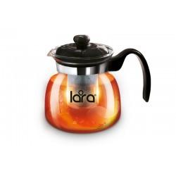 Заварник (чайник) LARA LR06-08 750мл, БОРОСИЛИКАТНОЕ СТЕКЛО, стальной фильтр, отделка хром