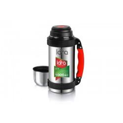 Термос LARA LR04-02 - 1.00л, ручка, кнопка, ремешок, двойные стенки, крышка-стаканчик, нерж сталь