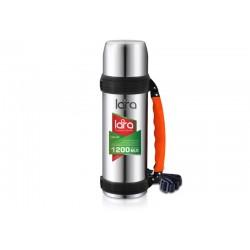 Термос LARA LR04-03 - 1.20л, ручка, кнопка, ремешок, двойные стенки, крышка-стаканчик, нерж сталь