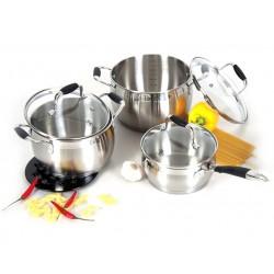 Набор посуды TalleR TR-1033 Галлант кастр: 20см/3.7л,18см/2.8л,ковш 16см/1.5л,бакелит.подставка,инду