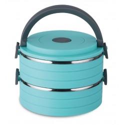 Термоконтейнер BekkerBK-4383 16.5*15*11,8см,голуб,состоит из 2-ух емкостей 600 мл каждая,пластик и нерж. сталь,ручная чистка