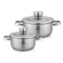 Набор посуды Eurostek ES-1211 6пр,кастрюли 2л, 4л, 6л,нерж.сталь,крышки,мерная шкала,для всех типов плит.