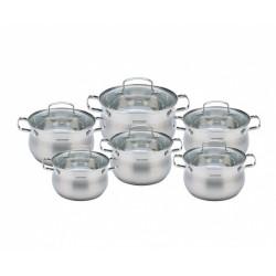 Набор кастрюль Vissner VS-50627 GLORIA   12пр,нерж.сталь,6 кастрюль:2,1л(16см)   2 кастрюли по 2,9л(18см)  2 кастрюли по3,9л(20см), 6.6л(24см),для всех типов плит