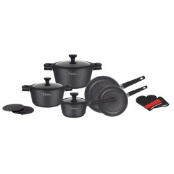 Набор посуды Bollire BR-1320 12пр,ковш с крышкой 16 x 8.5 см  кастрюли с крышкой 20 x 10 см, 24 x 12 см  сковороды: 20 x 5 см, 28 x 6 см,алюминий,мраморное антиприг.покрытие,для всех типов плит,индукция