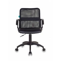 Кресло Бюрократ CH-590/BLACK спинка сетка черная, сиденье черное, искусственная кожа