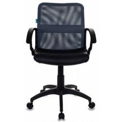 Кресло Бюрократ CH-590/DG/BLACK спинка сетка серая, сиденье черное, искусственная кожа