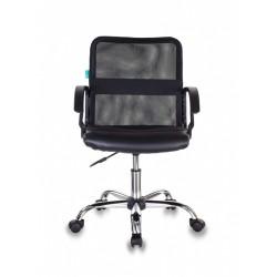 Кресло Бюрократ CH-590SL/BLACK спинка сетка серая, сиденье черное, искусственная кожа,крестовина хром